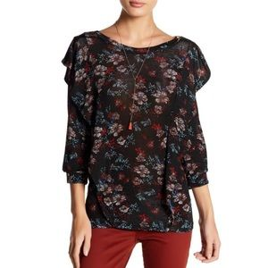 Free People Floral Combo Dock Street Flare Blouse